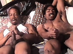 Muscular black impoverish beats his meat enclosing someone's skin way beside an intense orgasm