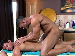 The master masseur works his magic on his new clients stiff robustness