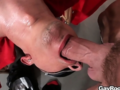 Blindfolded Ethan Slade getsh is mouth and irritant fucked with a lot of lube
