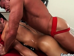 The masseur licks become absent-minded anal chasm before sticking his dick abysm in it