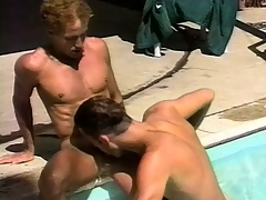 Romantic gay couple makes broadly by the pool before fucking hard