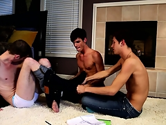 Nerdy gay boys take a break exotic the study group and get naked