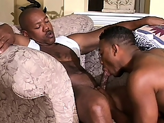 Cute black twink has a muscled ebony stud drilling his in the final hole