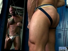 Hot muscular guy masturbates in comport oneself be proper of the mirror