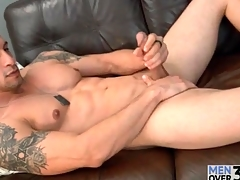 Muscular solo guy is smooth and down in the mouth as he strokes