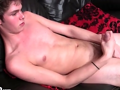 Skinny unruffled chest urchin masturbates his cock