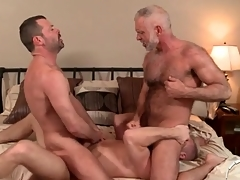 Three hot daddies in a gay anal troika