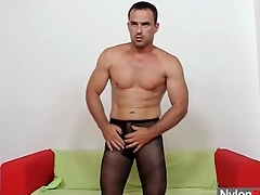 Muscular beggar alongside pantyhose fucks a toy