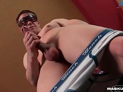 Smooth and fit guy strokes anent hotel enclosure