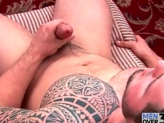 Great tattoo on solo masturbating guy