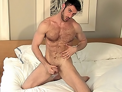 He probes his asshole with his moonless dildo all alone in bed