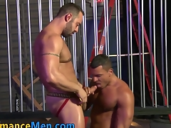 Bulky gobbling gay stud fucks ass and cums on cock