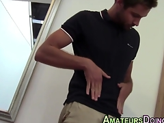 Amateur hunk squirts his tax after solo cock jerking action