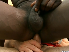 Perverted black friend sucking huge white cock with pleasure, enjoy