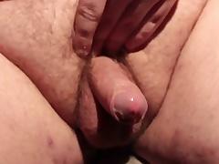 Horny fat slut masturbating his small dick and cumming