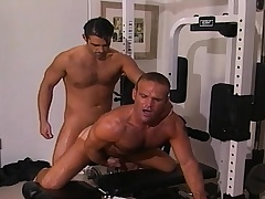 Two inviting and lustful gay guys sucking and fucking hard in the gym
