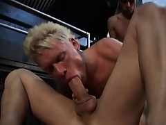 Three gays are going at it hot and heavy with exploding cocks