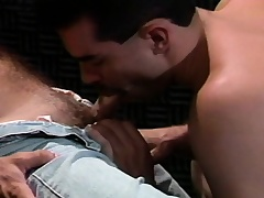 Studs are sucking dick in a dark room and pile it on in his sphincter